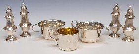 21: STERLING SILVER SHAKERS & PARCEL GILT CUP