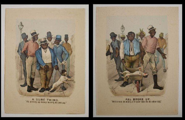 """157: (2) CURRIER & IVES, """"ALL BROKE UP-SURE THING"""", #77"""