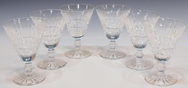 2: WATERFORD CRYSTAL 'TRAMORE' CLARET WINE GOBLETS