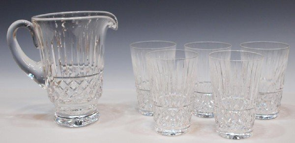 5: WATERFORD CUT CRYSTAL 'TRAMORE' PITCHER & GLASSES