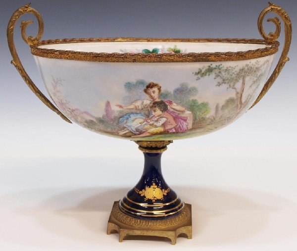 8: SEVRES STYLE HAND PAINTED & GILT PORCELAIN COMPOTE