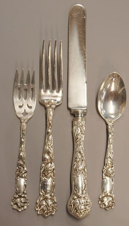 14: ALVIN 'BRIDAL ROSE' STERLING SILVER PLACE SETTING
