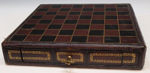 24: MAITLAND SMITH EMBOSSED LEATHER CHESS BOARD BOX