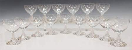 194: (15) LALIQUE FRANCE COLORLESS CRYSTAL WINE GOBLETS