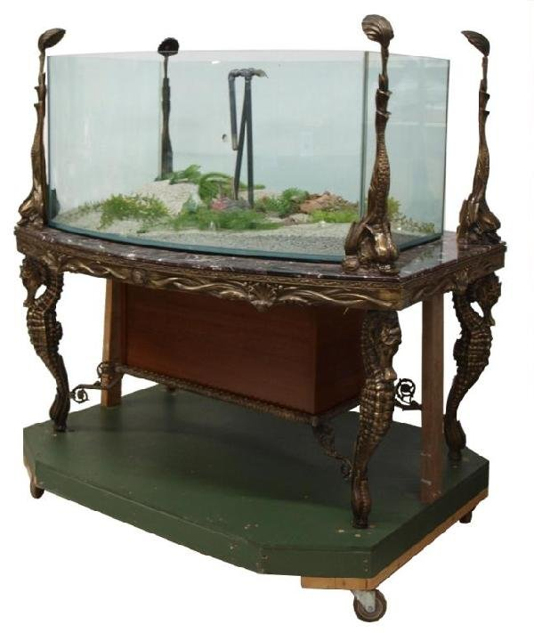 236: LARGE AQUARIUM ON FIGURAL BRONZE MARBLE TOP TABLE