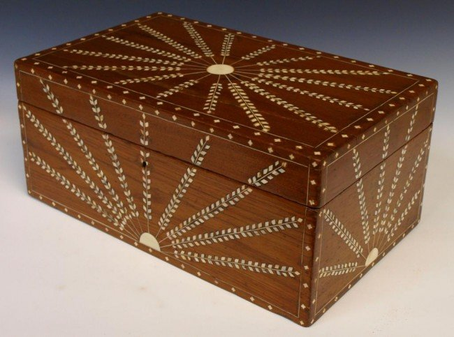 24: ANGLO-INDIAN TEAKWOOD IVORY INLAID FITTED BOX