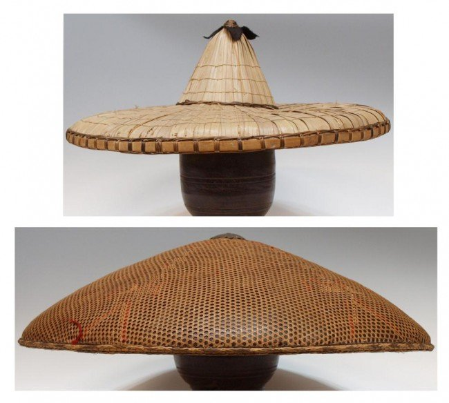 56: (2) ANTIQUE ASIAN WOVEN BAMBOO RICE HATS