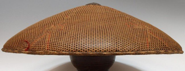 56: (2) ANTIQUE ASIAN WOVEN BAMBOO RICE HATS - 2