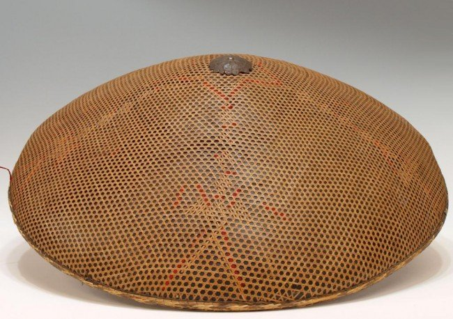 56: (2) ANTIQUE ASIAN WOVEN BAMBOO RICE HATS - 3