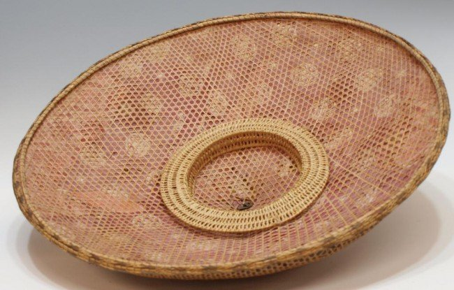56: (2) ANTIQUE ASIAN WOVEN BAMBOO RICE HATS - 4