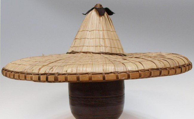 56: (2) ANTIQUE ASIAN WOVEN BAMBOO RICE HATS - 5