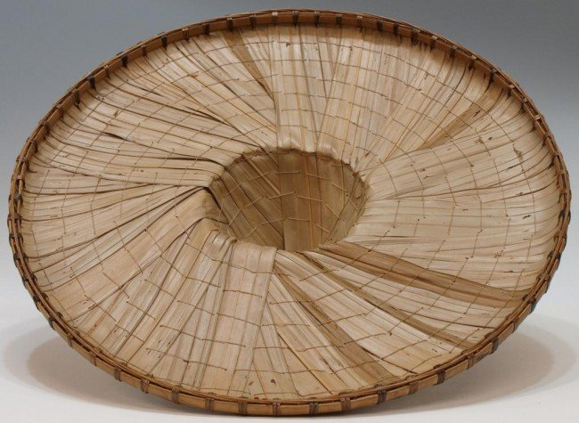 56: (2) ANTIQUE ASIAN WOVEN BAMBOO RICE HATS - 7