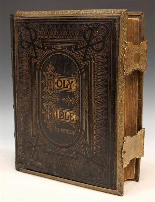 154 Antique Leather Amp Brass Bound Family Bible