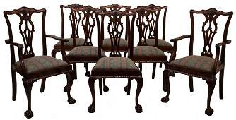 195 8 ENGLISH MAHOGANY CHIPPENDALE DINING CHAIRS