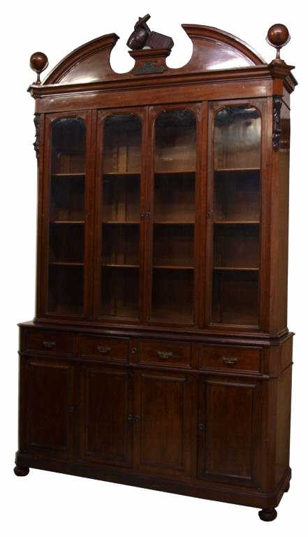 218: MONUMENTAL MAHOGANY BOOKCASE, MADRID, SPAIN, 1890