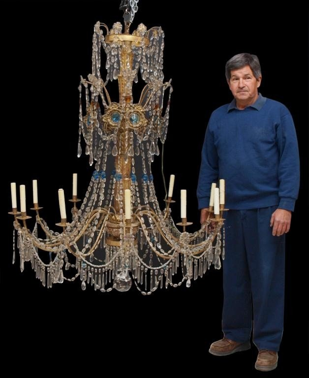 254: MONUMENTAL 19TH C. ITALIAN CRYSTAL CHANDELIER