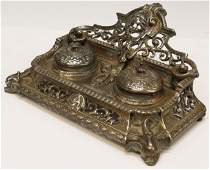 8: VICTORIAN PIERCED BRASS FIGURAL DOUBLE INKWELL
