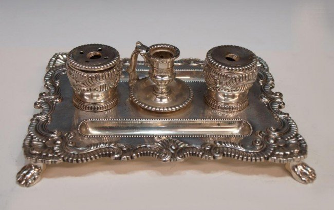 9: CORBELL & CO. SILVER PLATE DOUBLE INK STAND