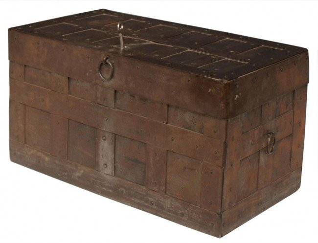 16: 18TH C. SPAIN IRON BANDED STRONG BOX, HIDDEN LOCK