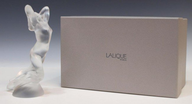 18: LALIQUE FRANCE FROSTED FEMALE NUDE FIGURE