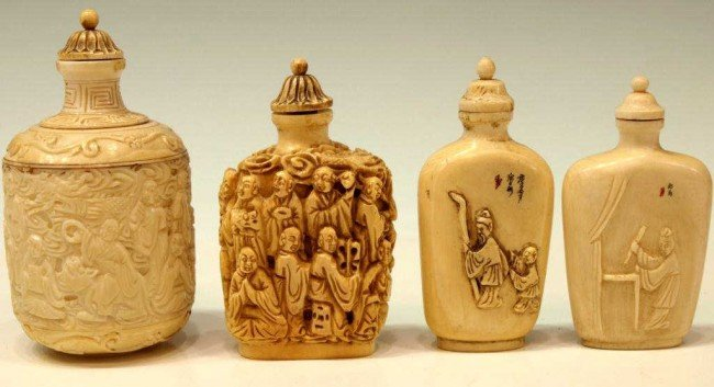 23: COLLECTION OF CHINESE CARVED IVORY SNUFF BOTTLES