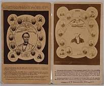 99: (2) WASHINGTON & LINCOLN ADVERTISING CDV'S