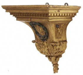 LARGE SPANISH RELIEF CARVED GILTWOOD WALL BRACKET
