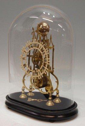 19TH C. ENGLISH BRASS FUSEE SKELETON CLOCK
