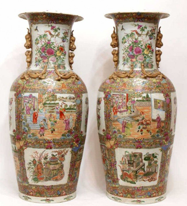 222: LARGE ANTIQUE CHINESE FAMILLE ROSE PALACE VASES