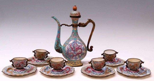 223: FINE CHINESE CANTON ENAMEL DRAGON EWER & CUPS