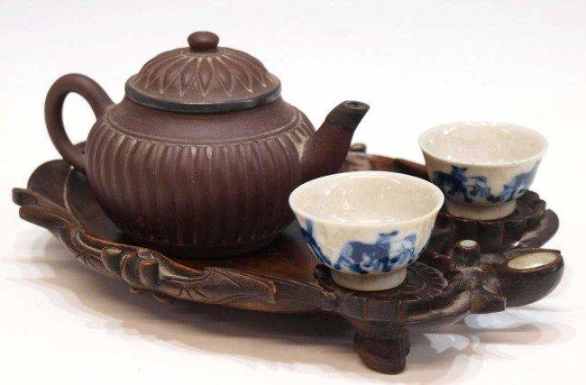 224: CHINESE ASSEMBLED TEA SET & FINE QING WOOD TRAY