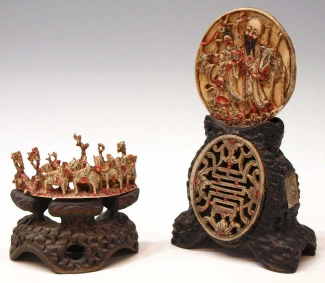 228: CHINESE IVORY OVAL DISC ON STAND & FIGURAL CARVING