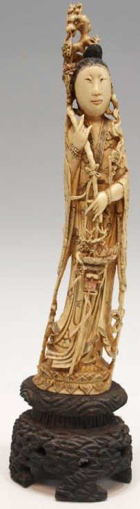 229: LARGE CHINESE FIGURAL CARVED IVORY TUSK, MAGU