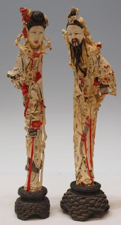 230: (2) CHINESE POLYCHROME TINTED CARVED BONE FIGURES