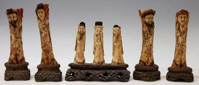 235: CHINESE PRIMITIVELY CARVED BONE IMMORTAL FIGURES