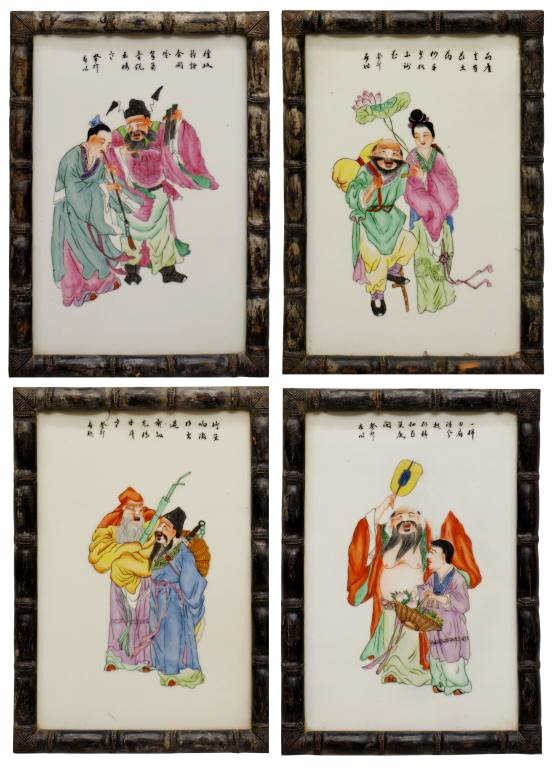 236: FRAMED CHINESE POLYCHROME PORCELAIN PLAQUES