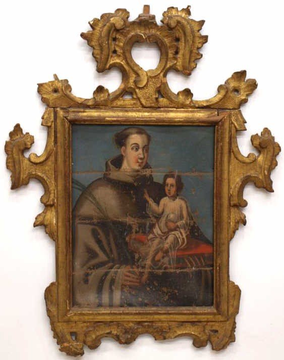 237: FRAMED 18TH C. SPANISH COLONIAL RELIGIOUS PAINTING