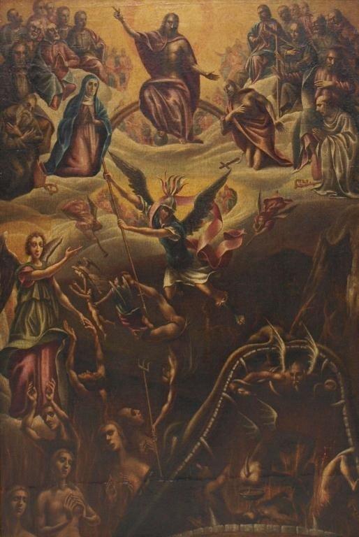 238: ANTIQUE RELIGIOUS OIL PAINTING, MADRID, SPAIN