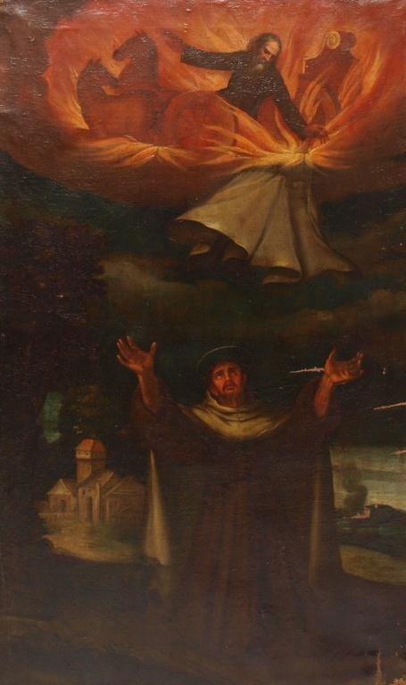 239: LARGE ANTIQUE RELIGIOUS PAINTING, SPAIN, 18TH C