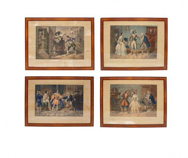 361: (4) 19TH C. LITHOGRAPHS, BARBER OF SEVILLE SCENES