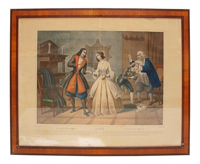 361: (4) 19TH C. LITHOGRAPHS, BARBER OF SEVILLE SCENES - 2