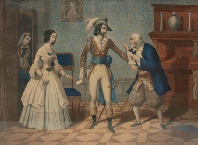 361: (4) 19TH C. LITHOGRAPHS, BARBER OF SEVILLE SCENES - 5