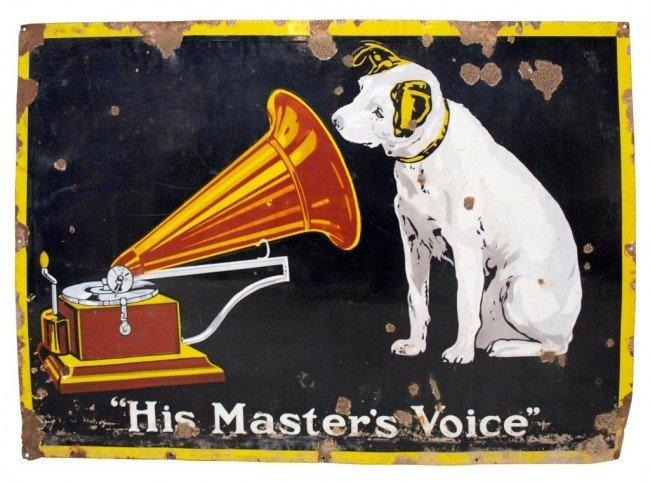 18: LARGE ANTIQUE RCA PORCELAIN HIS MASTERS VOICE SIGN