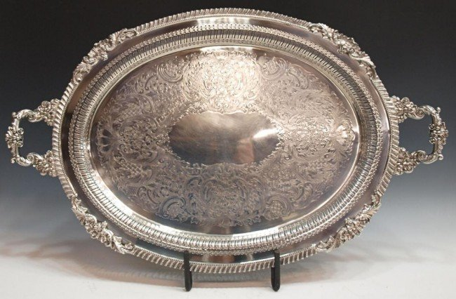 36: MASSIVE ORNATE SILVER PLATE HANDLED SERVICE TRAY