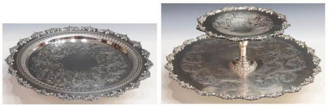37: ORNATE CHASED SILVER PLATE TWO-TIER LAZY SUSANS