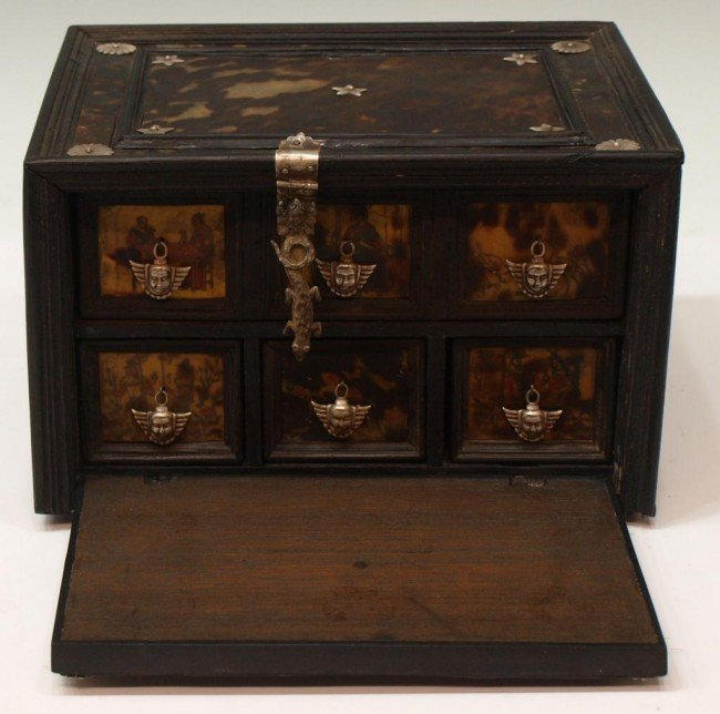 227:  INDO-PORTUGUESE TORTOISE SHELL & EBONY TABLE BOX - 4