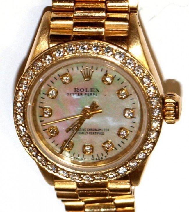 243: 18KT GOLD & DIAMOND ROLEX OYSTER PERPETUAL WATCH