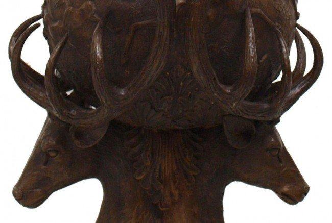 262: FINE & LARGE BRONZE STAG HEAD GARDEN URNS - 5
