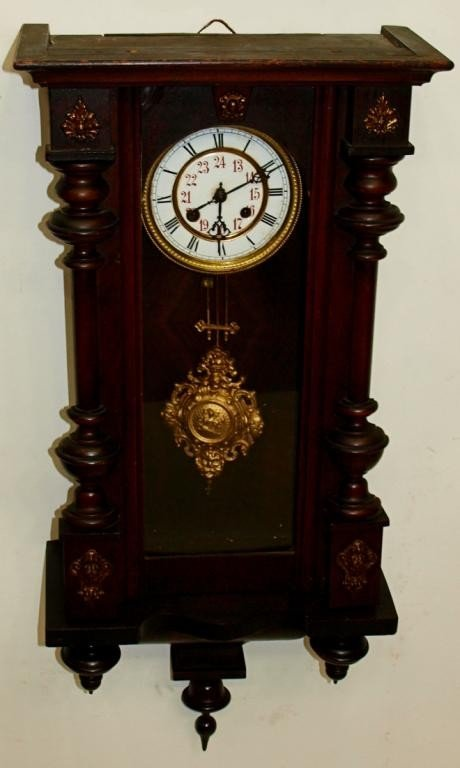 13: GERMAN WALNUT CASED WALL CLOCK, BAUERLE