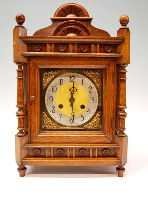 15: ORNATE BRITISH OAK CASED SHELF CLOCK